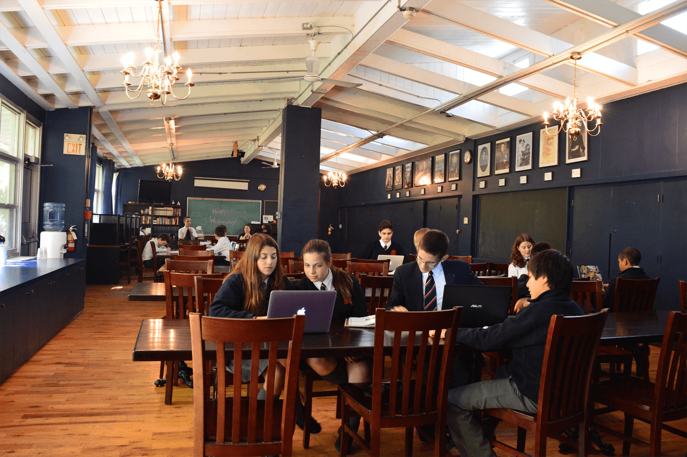 students studying together in the dining hall at King's College School, a private school serving students in the Caledon, Brampton, Orangeville and Bolton areas